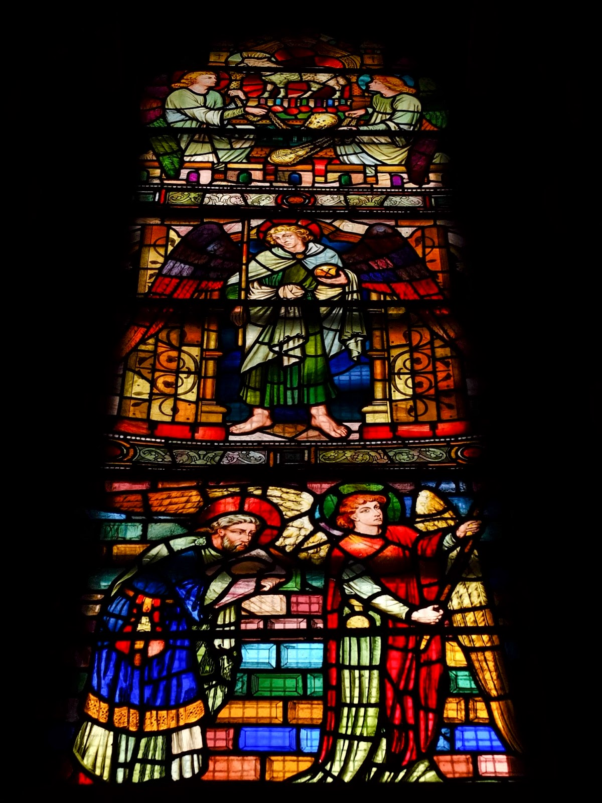 A stained glass window inside St. Fin Barre's Cathedral in Cork City.