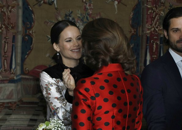 Queen SIlvia and Prince Carl Philip at Lunch. Princess Sofia Hellqvist wore Philosophy by Lorenzo Serafini casual dress