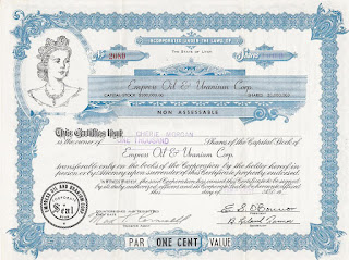 share certificate of the Empress Oil and Uranium Corporation, Utah