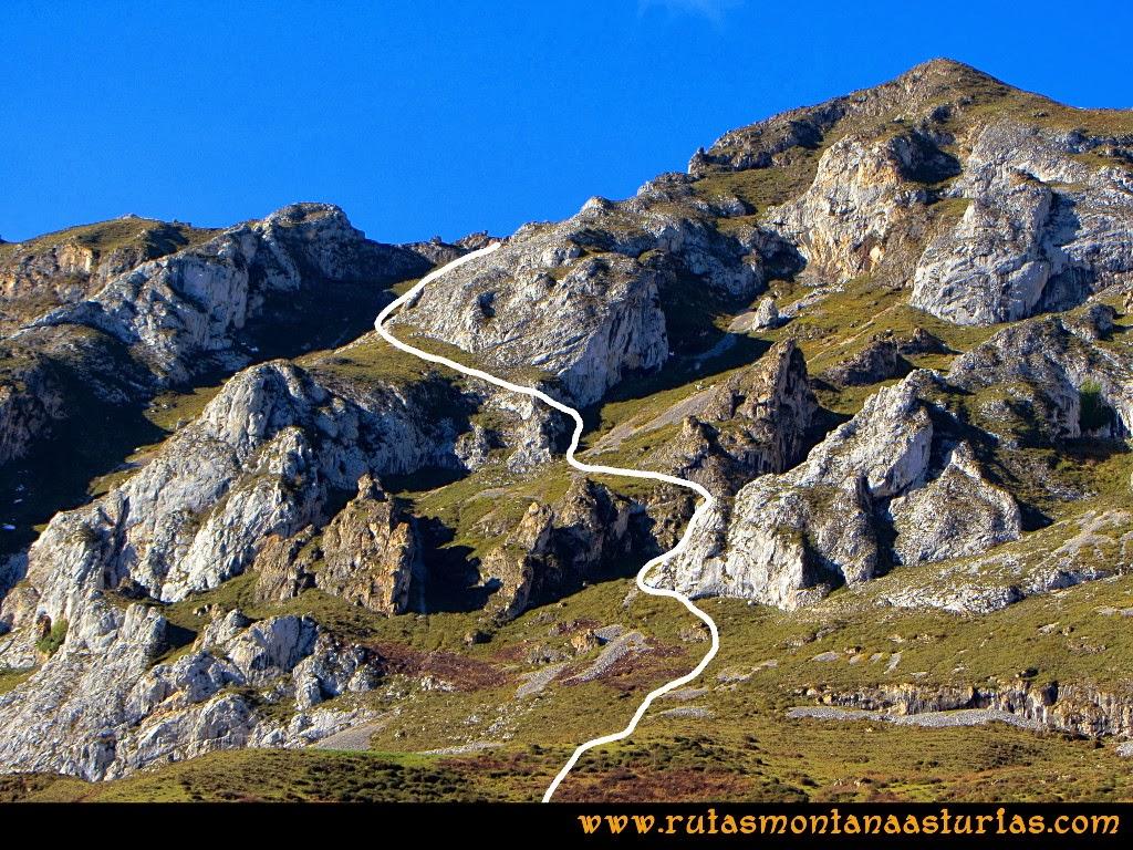 Rutas Montaña Asturias: Canal de subida al pico la Hoya