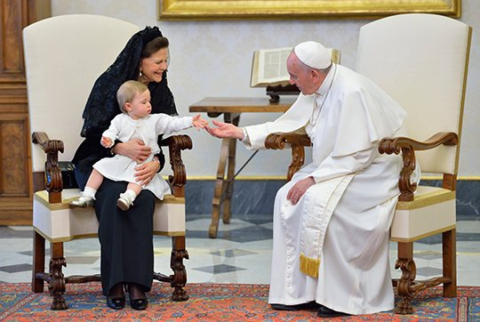 Princess Madeleine of Sweden, Christopher O'Neill and their daughter Princess Leonore, Queen Silvia of Sweden attends a meeting with Pope Francis