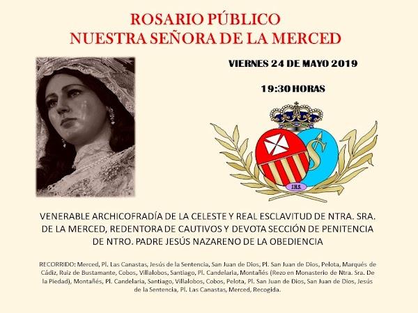 Horario e Itinerario Rosarío Publico de la Virgen de la Merced. Cádiz 24 de Mayo del 2019