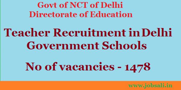 Teacher Recruitment at Delhi Government Jobs, Teaching Jobs, Teacher Vacancy