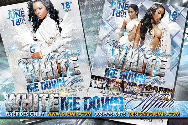 White Me Down Affair Annual All White Party Flyer Design