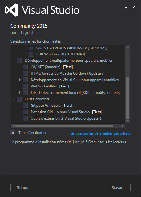 Installation de Visual Studio Communiy 2015 - Update 1 - Volet 2