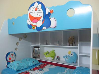 ide gambar foto desain kamar anak tema doraemon