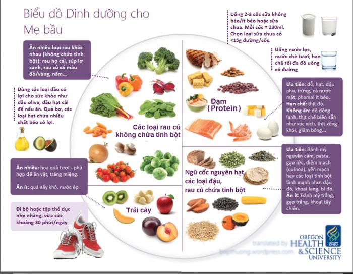 Biểu đồ dinh dưỡng cho bà bầu