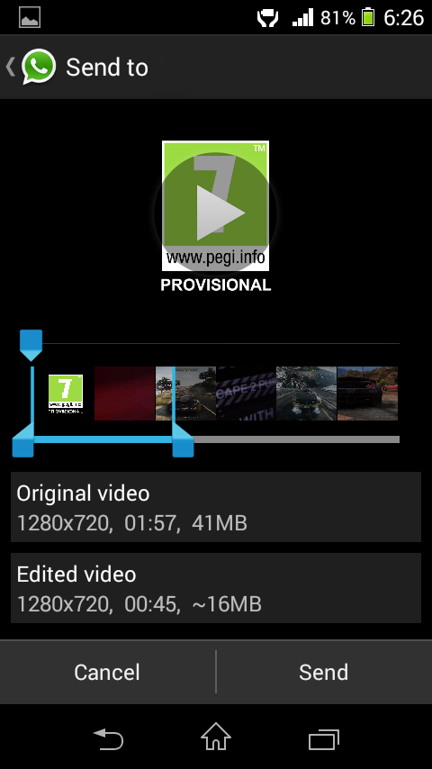 Cut/Trim Videos In Whatsapp