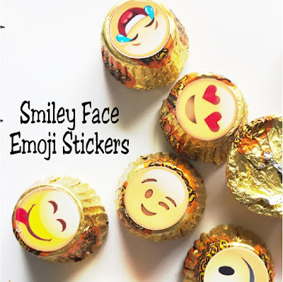 Give a smile to everyone you meet today with these fun smiley face emoji kiss stickers. These printable stickers fit perfectly on the bottom of a Hershey Kiss or Reeses Peanut Butter Cup mini to bring a smile to everyone's face today.