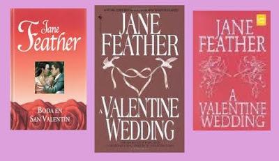 portadas de la novela romántica contemporánea Boda en San Valentín, de Jane Feather