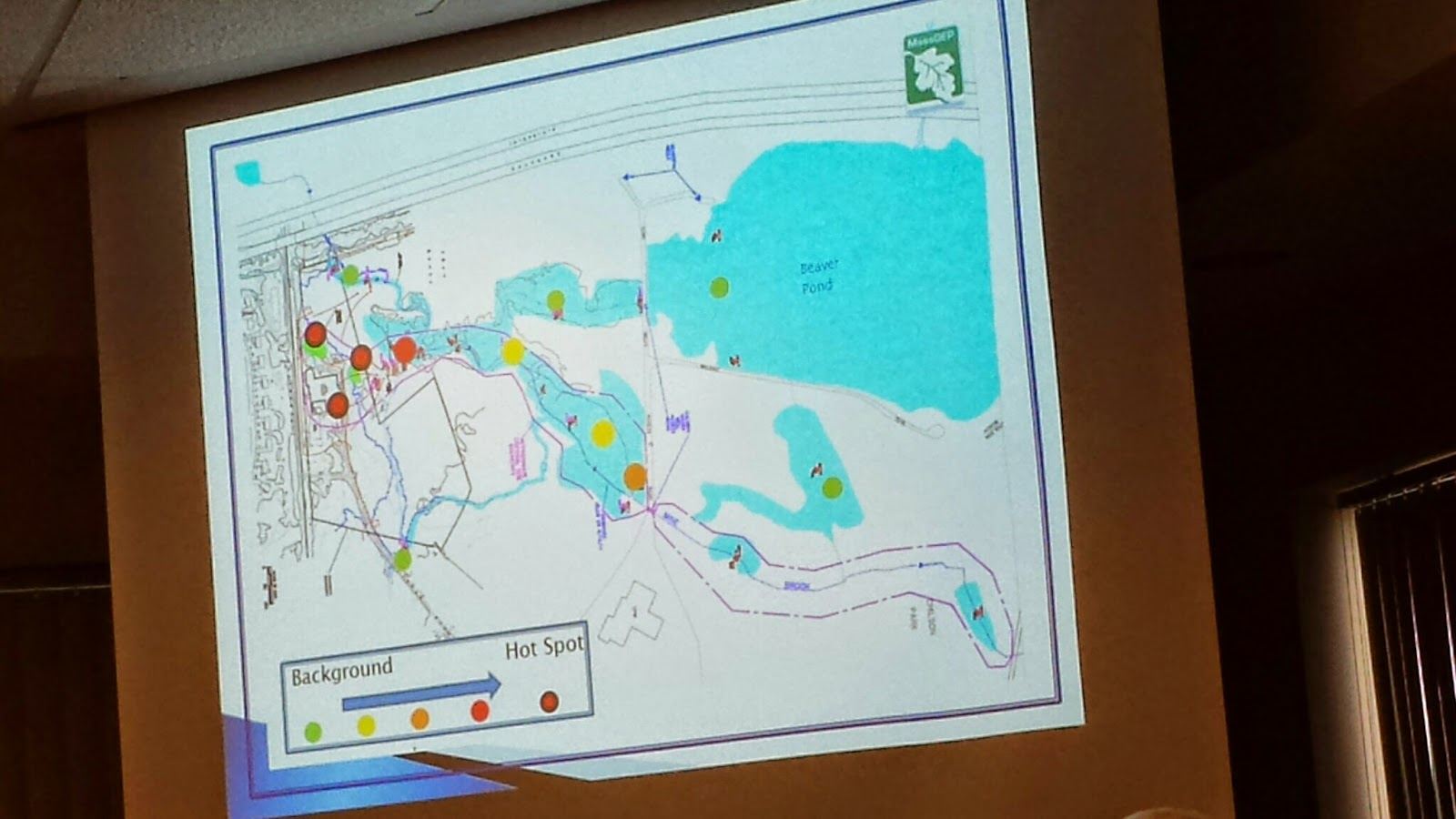 photo of map shown during presentation at Town Council meeting
