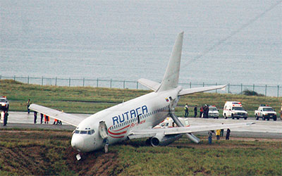 Avión de pasajeros se sale de la pista con 44 personas al aterrizar en Maiquetía, perteneciente a la compañia Rutaca