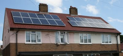 Photovoltaic panels on council houses in The London Borough of Ealing installed by the Council this year when replacing the roofs