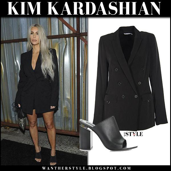 kim kardashian in black blazer and black open toe mules at