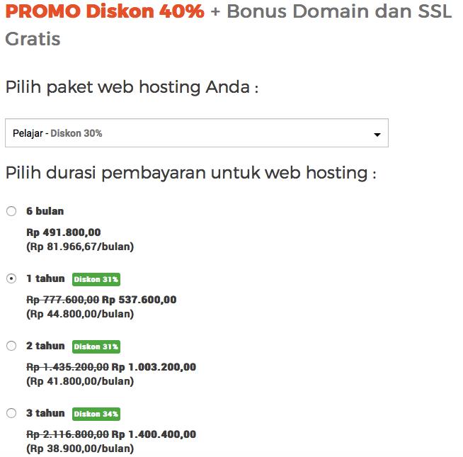 "Paket web hosting ""Pelajar"" Niagahoster"