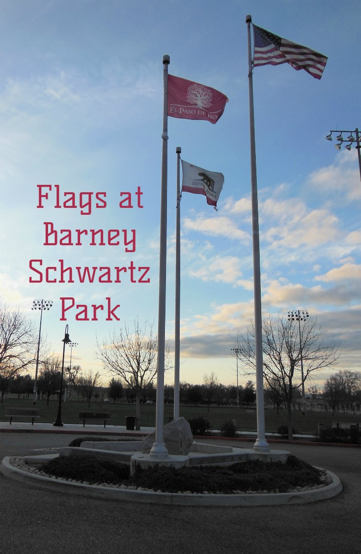 Flags at Barney Schwartz Park in Paso Robles, California