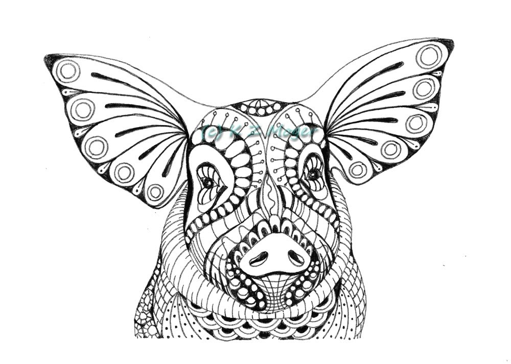 14-Piglet-Kristin-Moger-Animal-Portraits-Dressed-with-Zentangle-Textures-www-designstack-co
