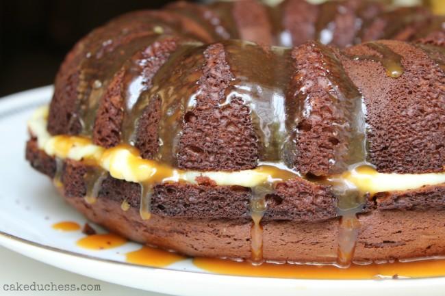 Devil's Food Bundt Cake with Caramel Glaze