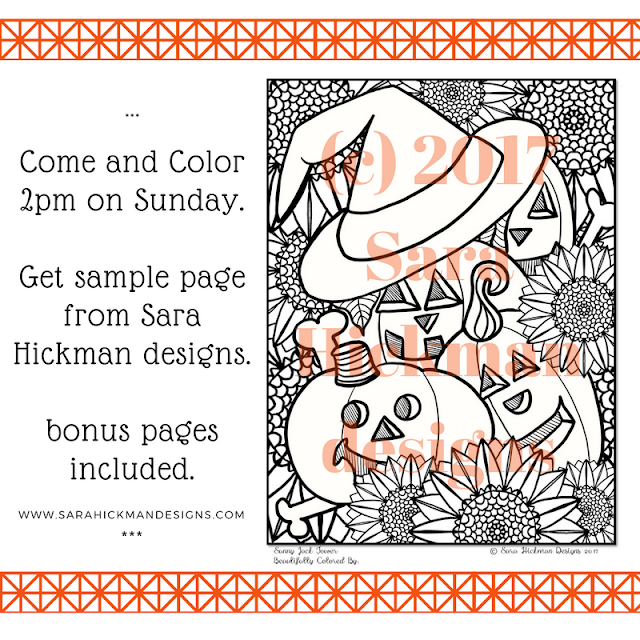 Come and Color Sunday 9/24/2017 at 2pm on Facebook Live with Sara Hickman designs. Sign up to have the coloring page emailed to you.