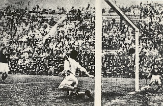 Schiavio's goal beats the Czech 'keeper in the 1934 final