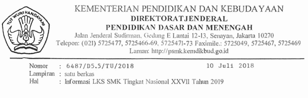 Informasi LKS SMK Tingkat Nasional XXVII Tahun 2019