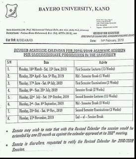 BUK Revised Academic Calendar For 2018/2019 Academic Session Published