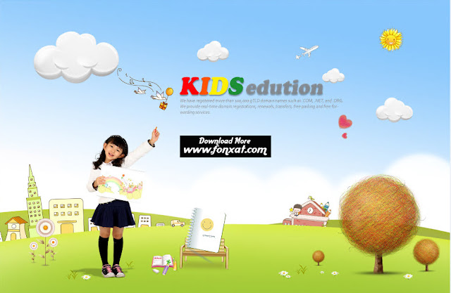 FREE PSD download : A child in school design center of the park