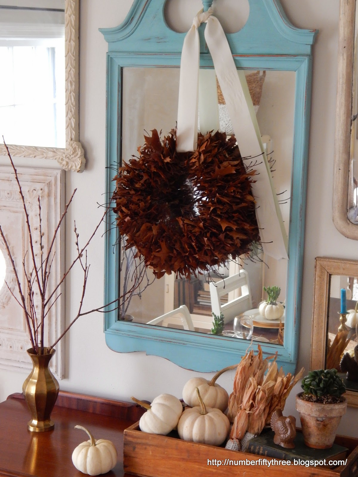 Pretty Fall display with natural wreath