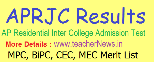 APRJC Results 2019 | APRJC CET Results, Merit List, Cutoff Marks @ aprs.cgg.gov.in