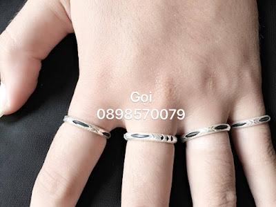 Hình ảnh một số mẫu nhẫn lông voi đơn bằng bạc xịn