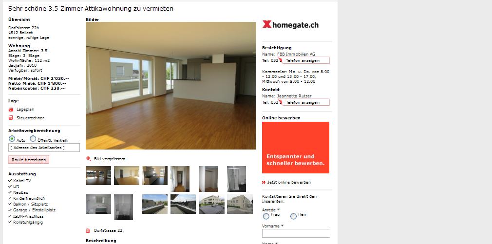sehr sch ne 3 5 zimmer attikawohnung zu vermieten dorfstrasse 22b. Black Bedroom Furniture Sets. Home Design Ideas