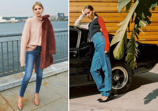 Туфли лодочки с джинсами и свитером