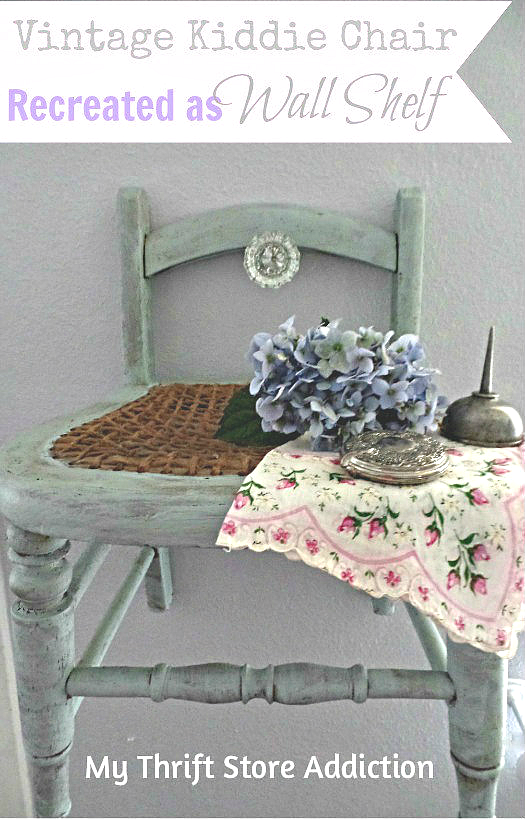 Repurposed vintage kiddie chair shelf