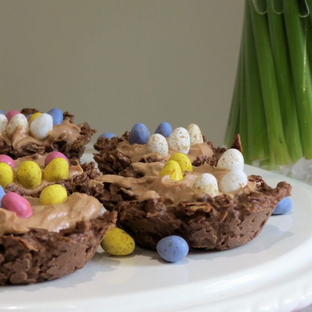 Fun Easter Bakes, Quick Chocolate Cream Filled Nests