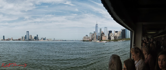 Manhattan Harbor panorama with New Jersey and Manhattan skylines. Travel photography by Kent Johnson.