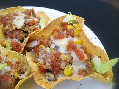 Refried Beans in Home Baked Taco Bowls