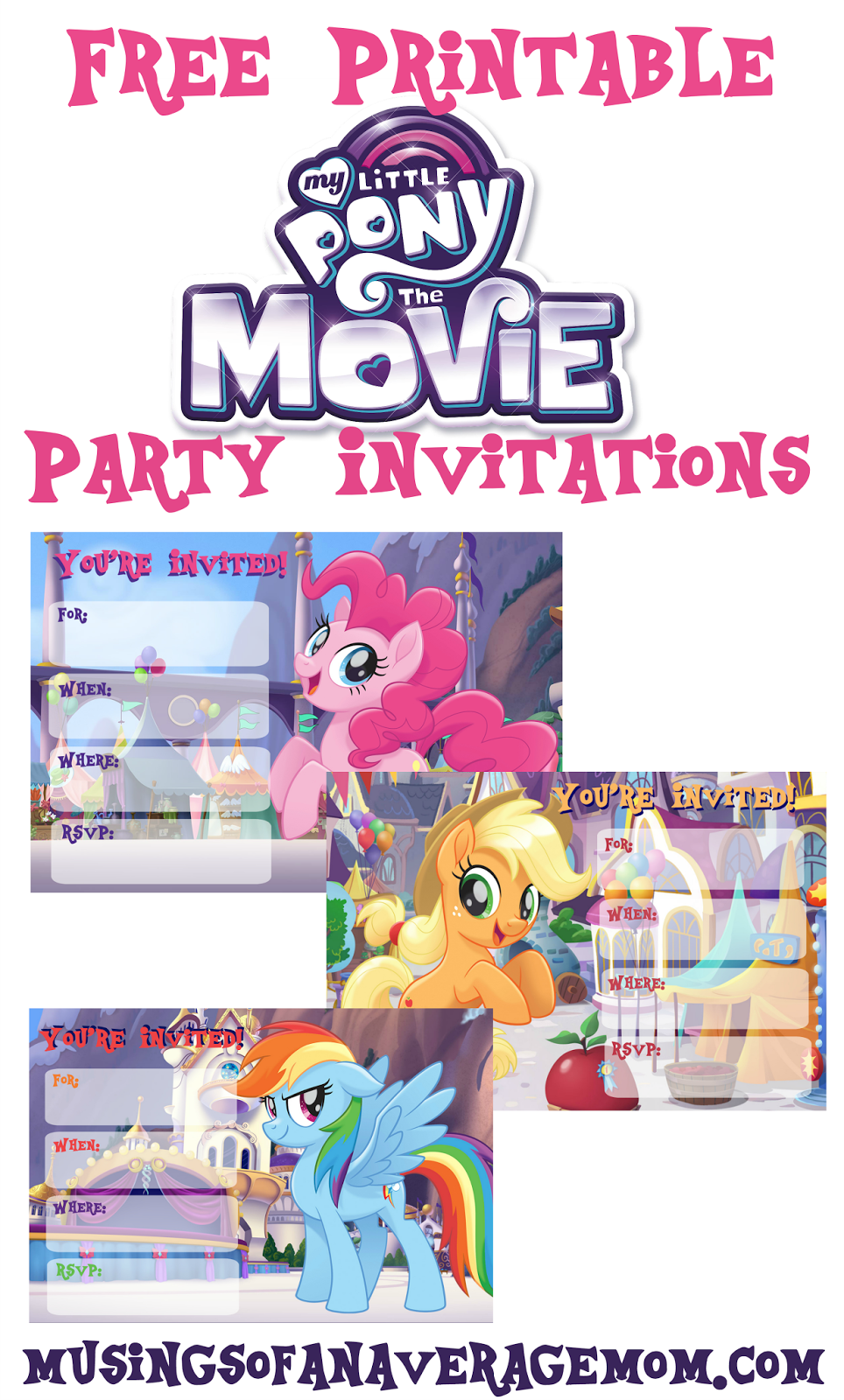 My Little Pony Movie Invitations