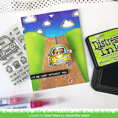 I'd Be Lost Without You Card by Samantha Mann for Lawn Fawn, Lawn Fawnatics, Car Critters, Interactive, Cards, Handmade Cards, Pull Tab, Distress Inks, Ink Blending #lawnfawn #pulltab #interactive #interactivecard #cards #carcritters #distressinks #inkblending