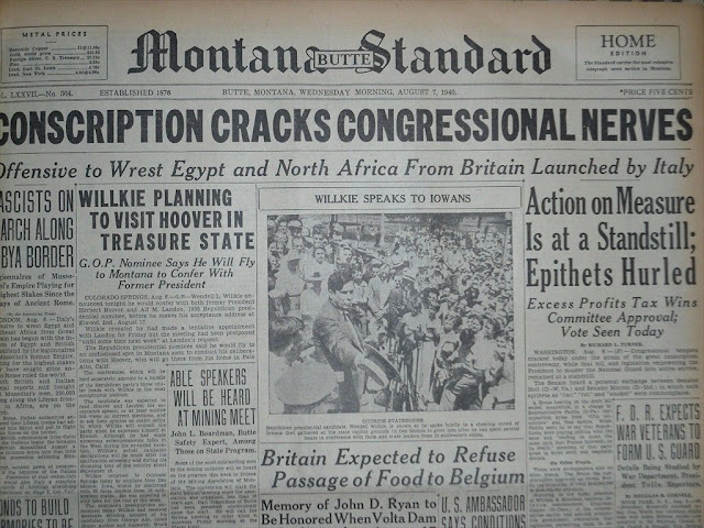 7 August 1940 worldwartwo.filminspector.com Montana Standard headlines