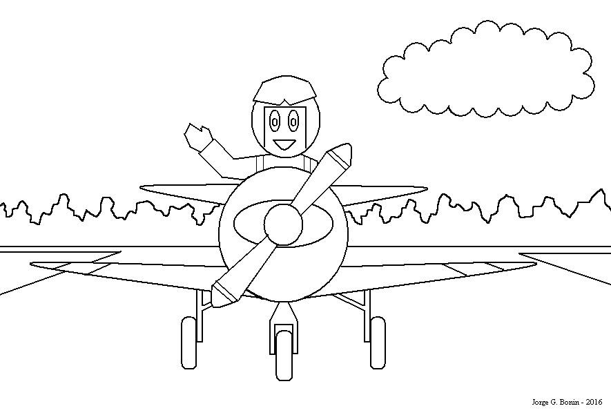 Arte No Paint: Desenho Para Colorir: Piloto E Avião
