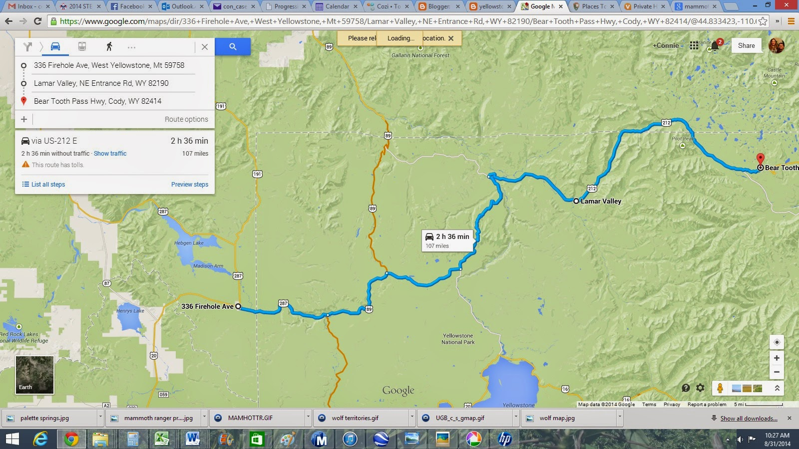 about 36 min from end of lamar to start of bear tooth