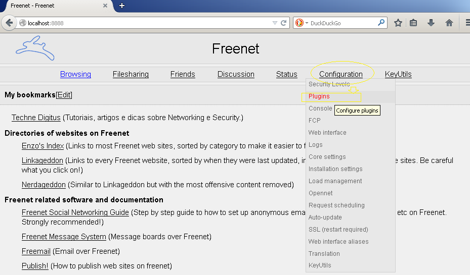 Página Principal da Freenet