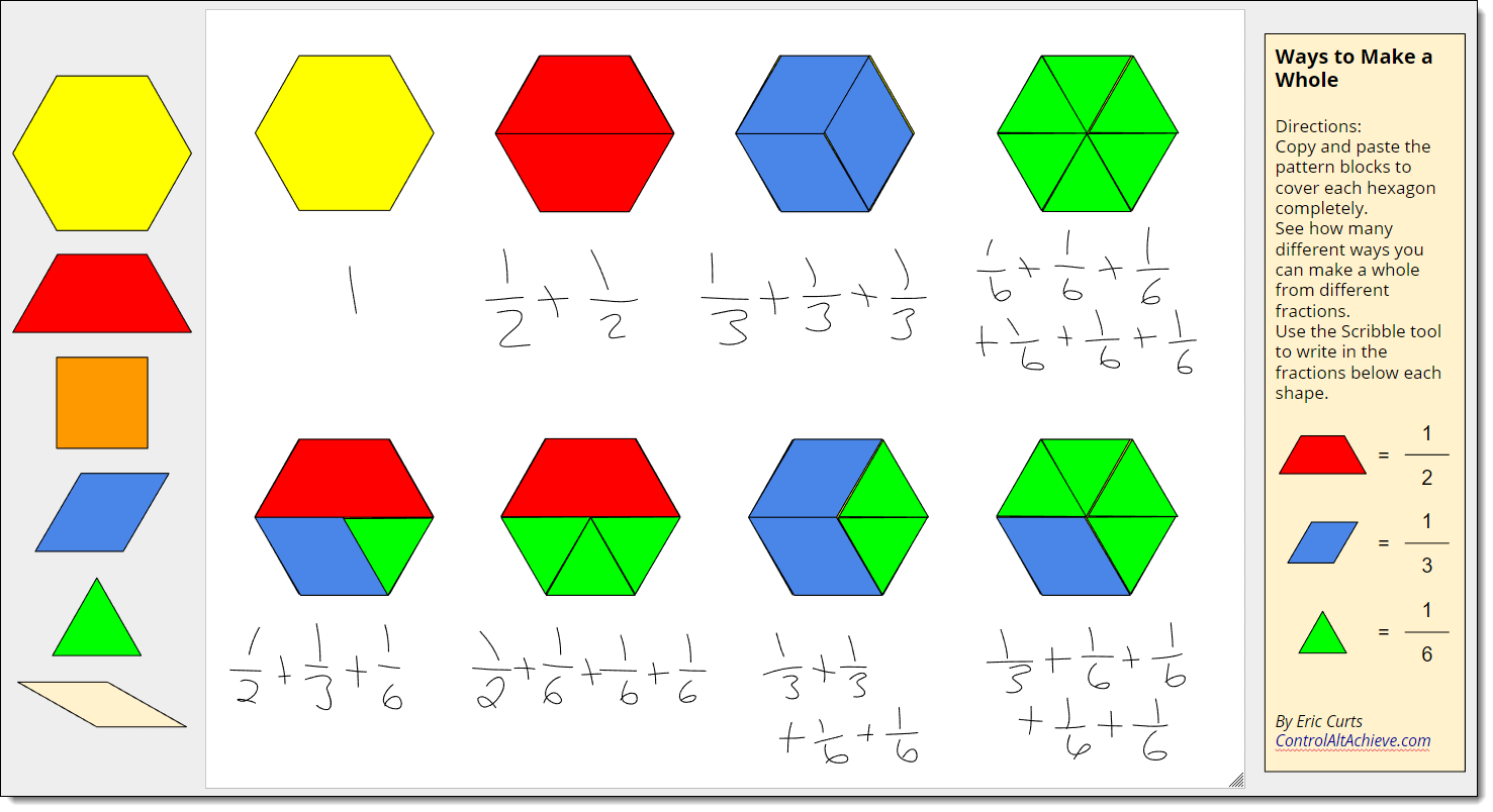 Pattern Block Fractions Interesting Design Inspiration