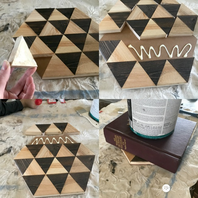 gluing triangle pieces to a hexagon back piece, geometric pattern