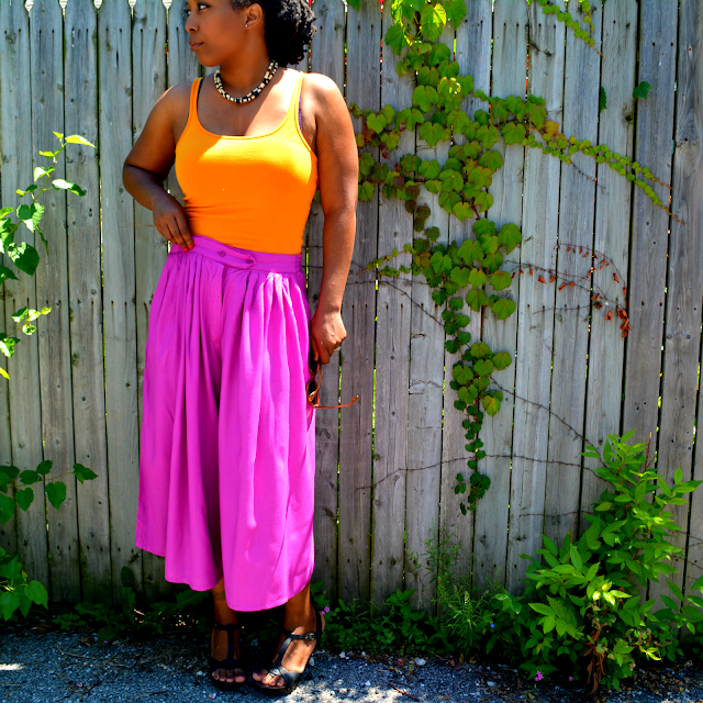 hot pink culottes in summer