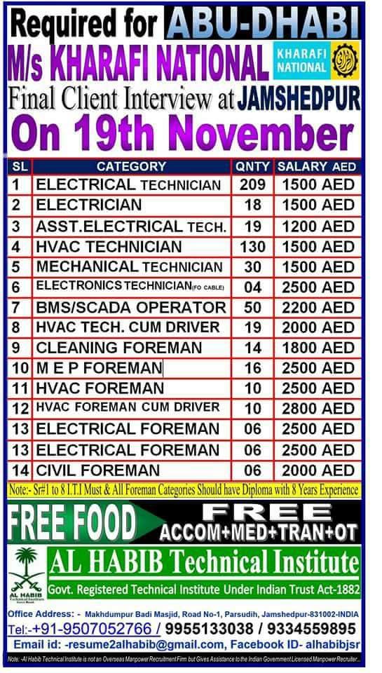 gulf naukri - wanted for m/s kharafi national, abu dhabi