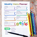 Coloring Weekly Menu Planner
