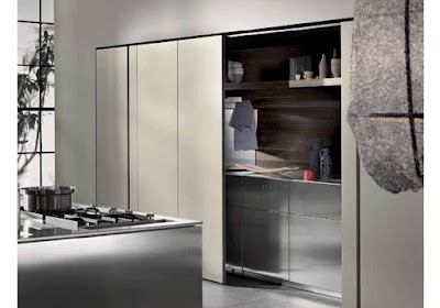 hidden kitchen design behind sliding doors