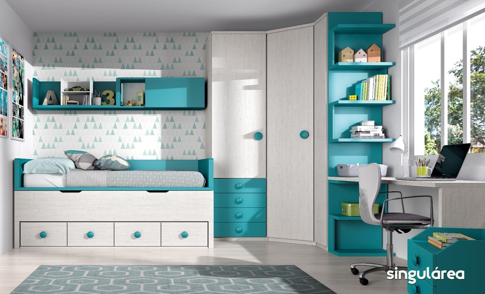 Cuarto juvenil armario rinc n 2202 for Dormitorios juveniles baratos sin armario