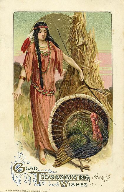 Vintage Thanksgiving Wishes postcard. A beautiful Native American woman and a turkey. Was She on the Mayflower and other stories of giving thanks. marchmatron.com